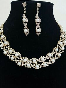 Women Fashion Gold Diamonte and Pearl Necklace Wedding and Party Wear Uk Seller