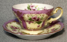 Saji OCCUPIED JAPAN Violets Dainty Footed Coffee Cup & Saucer - BEAUTIFUL!