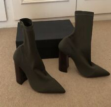 BNWT SEXY TONY BIANCO DIDDY KHAKI LYCRA BOOTS WITH WOODSTACK HEEL EUR 35.5, UK 3