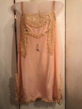 FAB! Art Deco 20's 100%Silk Chiffon Tambour Lace Slip Teddy Flapper Negligee M
