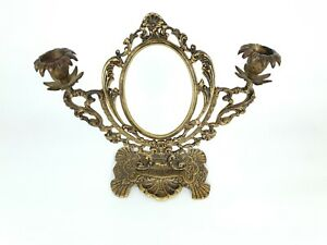 Antique Hand Engraved Brass Vanity Table Top Mirror with Candle Holders