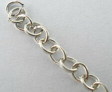 4M Bright Silver Tone Link-opened Cable Chain Findings For Necklace 3x4mm