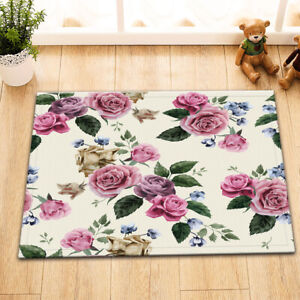 Floral with Pink Roses Non-skid Door Bath Mat Home Room Decor Rug Floor Carpet