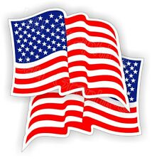 (2) Waving American Flag Hard Hat Stickers | Flags Decals Helmet Motorcycle Usa