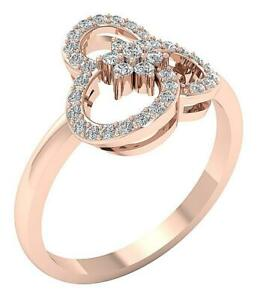 Wedding Ring Natural Round Diamond I1 G 0.40Ct 14k Rose Gold Prong Set 11.80 mm
