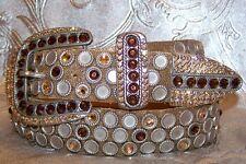 Bronze Metallic Leatherock Western Belt Made with Swarovski Rhinestone Medium