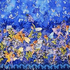 Fat Quarter Dusk Flower Fairies Border Quilting Cotton Fabric