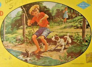 Warren Built-Rite Oval 150+ Pcs Puzzle EMBARRASSING MOMENT Boy Dog Girl Fishing