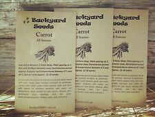 Heirloom Carrot Seeds: All Seasons x 300 seeds. Vegetable garden