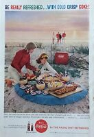 1950's Original Coca-Cola Magazine Ad Coke Beach Union Carbide