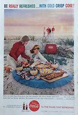 1950's Original Coca-Cola Magazine Ad Coke Beach Union Carbide