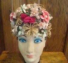 Vtg Mr Henri Pillbox Hat Floral Woven Mesh 1950s Easter