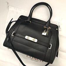 COACH 37182 Black Smooth Leather Swagger Frame Satchel Handbag NWT Dustbag
