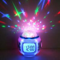 Music LED Star Sky Projection Light Digital Alarm Clock Calendar Thermomet AMY