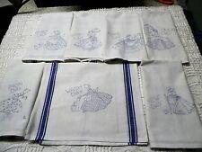 Set # 2/ Sunbonnet Sue Kitchen Stamped Embroidery Tea Towels Kit Blue Stripes
