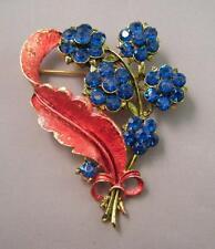"Vintage MAMSELLE Flower Bouquet Cobalt Blue Rhinestone Enamel Gold Pin Brooch 2"""