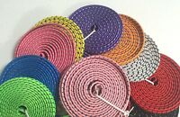10FT 3M FLAT BRAIDED Fabric Data Sync Charger Cable FOR iPhone 3g 4s 4 iPod 1 2