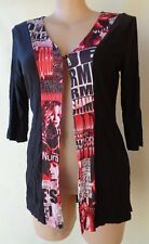 New EVERSUN Black red white print top button front size 10 NWT 3/4 sleeves