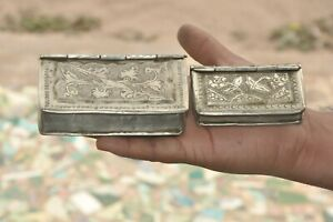 2 Pc Old White Metal Floral Book Shape Handcrafted Betel Nut Boxes
