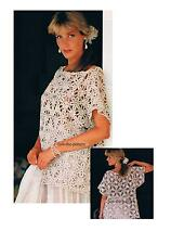 Ladies Loose-fit Short Sleeve Summer Top Crochet Pattern PATTERN ONLY Cotton