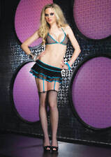 Fishnet Bikini Top And Layered Garter Skirt - Blue Edging Leg Avenue