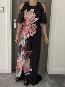 TED BAKER ULRIKA TRANQUILITY FLORAL RUFFLE MAXI DRESS BLACK Pink Size 1 UK 8