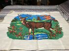 """Vintage 36"""" x 45"""" Painted DEER Tapestry Wall Hanging Unique!"""