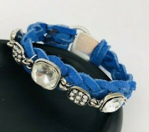 Braided Blue Leather Laces Rhinestone Silver Button Clasp Bracelet
