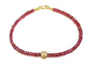 14 K solid yellow gold evil eye red ruby gemstone bead bracelet good luck amulet