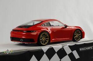 Porsche 911 992 Carrera Rouge Or Jantes 2019 1:18 Minichamps