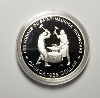 Canada 1988 Iron Works Silver $1.00 One Dollar Coin Proof