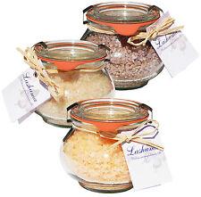(€ 30,47/kg) Badesalz Set Schokolade Orange Vanille im Weck Schmuckglas 3x250g