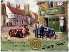 MG Classic Car Garage Safety Fast Old England Large Metal/Steel Wall Sign