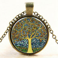 Vintage Necklace Tree of Life Cabochon Bronze Glass Chain Pendant Necklace ST