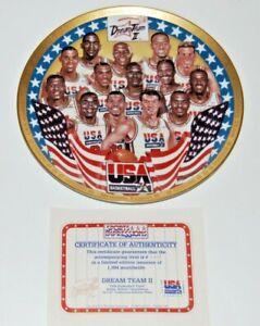 "SPORTS IMPRESSIONS DREAM TEAM II USA Basketball Collector's Plate w/ COA 8 1/2"""