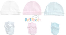 2 Pairs Baby Blue Soft Touch Anti Scratch Mittens 100 Cotton