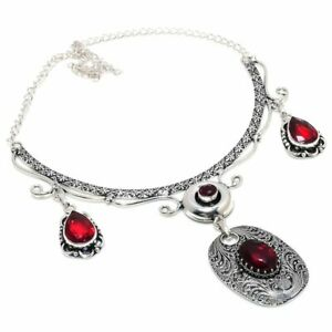 """Mozambique Garnet Gemstone 925 Sterling Silver Jewelry Necklace 18"""" D514"""