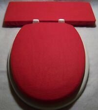 Solid RED fleece Elongated Toilet Seat Lid and Tank Lid Cover Set