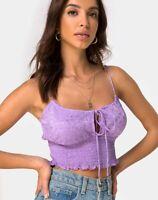 MOTEL ROCKS Gemala Cami Top in Satin Rose Lavender  XS (MR57)