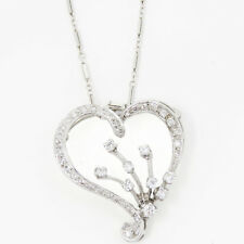 NYJEWEL Brand New 14K Gold Floral Heart 1ct Diamond Pin Pendant Necklace