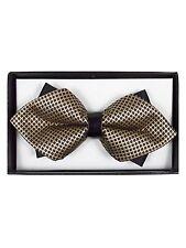 Men's Brown & Gold Geometric Diamond Tip Bow Tie - DBB3030-24