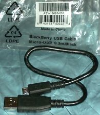 Blackberry Original 30 Cm SHORT Micro USB Data Cable ASY-18685 Black, 24 Hr Post