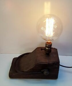 ANTIQUE Rustic Wooden TIMBER TABLE lamp handmade AGE UNKNOWN Showpiece  EDITION