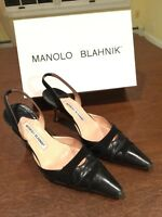 MANOLO BLAHNIK Black Leather Suede Slingback Heels Size 39 US 9 in Original Box