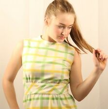Vintage Dress Checkered Gingham Print Sleeveless 60s Fashion