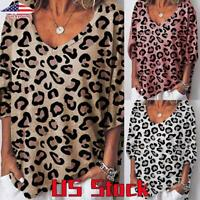 Women Leopard Print Short Sleeve Loose Tunic Comfy T Shirt Casual Blouse Tops US