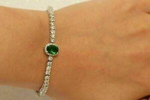 5 CT Oval Cut Emerald & Diamond Women's Halo Tennis Bracelet 14K White Gold Over