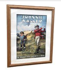 More details for large old framed johnnie walker whisky advertising print