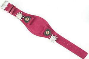 Original Edelzeit Edelweiss Uhrenarmband Violett 20mm Leder für Trachtenuhr