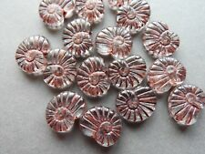 Czech glass shell snail fossil animal clear brown beads 17x13 mm pack of 10